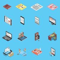 ícones de leitura e biblioteca definir ilustração vetorial vetor