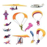 ilustração vetorial conjunto plano de paraquedismo vetor