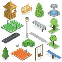 ilustração vetorial conjunto isométrico de infraestrutura do parque da cidade vetor