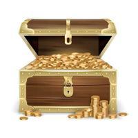 baú de madeira realista com ilustração vetorial de moedas vetor