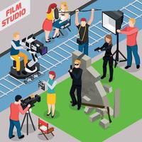 ilustração em vetor composição isométrica de estúdio de cinema