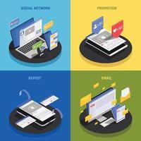 ilustração em vetor conceito isométrico de tecnologia de mídia social