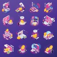 ilustração do vetor ícones isométricos tecnologia financeira brilho