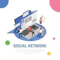 ilustração em vetor composição isométrica de mídia social