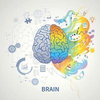 ilustração em vetor conceito cérebro esquerdo esquerdo