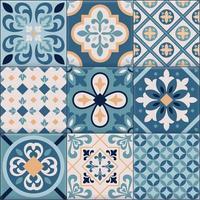 conjunto de ícones realistas de ladrilhos de cerâmica ornamentos ilustração vetorial vetor