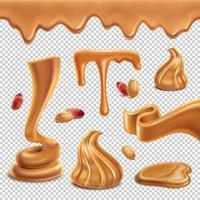 ilustração em vetor conjunto transparente realista de manteiga de amendoim