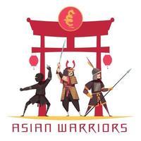 ilustração em vetor conceito guerreiros asiáticos