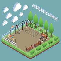 ilustração em vetor composição isométrica de esportes terrestres