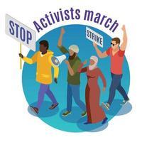 ativistas marcham em volta da ilustração em vetor conceito de design