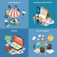 ilustração em vetor conceito design isométrico gestão de fortunas