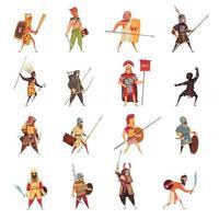 ilustração vetorial conjunto de ícones de guerreiros antigos vetor