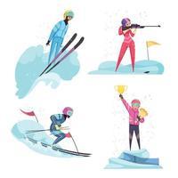 ilustração vetorial conjunto de ícones de esportes de inverno vetor