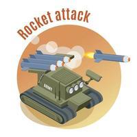 ilustração vetorial de fundo isométrico de ataque de foguete vetor