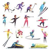 ilustração vetorial conjunto de esportes de inverno vetor