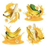 ilustração vetorial realista banana splash set vetor