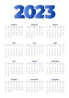 calendário 2023 azul simples vetor