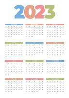 calendário 2023 colorido vetor