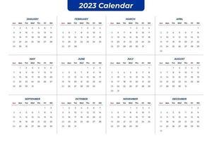 2023 calendário claro vetor