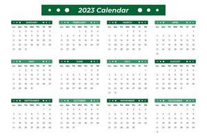 Calendário 2023 com detalhes verdes vetor