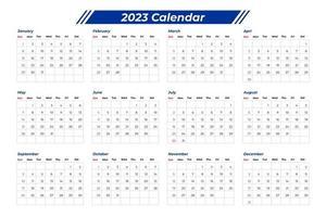 Calendário 2023 com mesa vetor