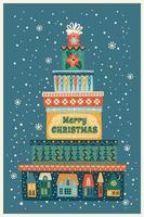 ilustração de Natal e feliz ano novo com caixas de presente. modelo de design do vetor. vetor