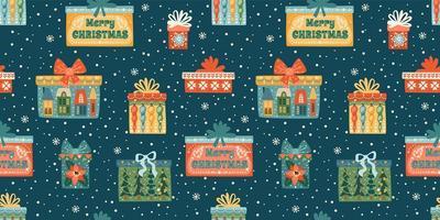 Natal e feliz ano novo sem costura padrão com caixas de presente. modelo de design do vetor. vetor
