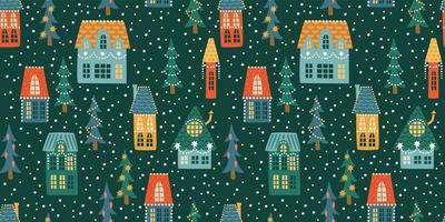 Natal e feliz ano novo sem costura padrão. cidade, casas, árvores de natal, neve. símbolos de ano novo. vetor