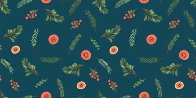 Natal e feliz ano novo sem costura padrão. árvore de natal, flores, frutos. símbolos de ano novo. vetor