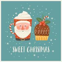 ilustração de Natal e feliz ano novo com doce de Natal e bebida. modelo de design do vetor. vetor
