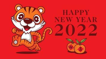 feliz ano novo 2022 ano do tigre. desenho animado bonito tigre mascote com o título de cumprimentos de ano novo - mascote de vetor