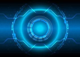 tela hexagonal. Círculo e esfera brilhantes de hud de ficção científica futurista. abstrato base de alta tecnologia. interface de display head-up. inovação em tecnologia de realidade virtual. efeito de luz. negócio digital vetor