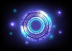 abstrato base de alta tecnologia do holograma. inovação em tecnologia de realidade virtual. interface de display head-up. círculo hud brilhante de ficção científica futurista. negócios de infográfico digital. placa de circuito vetor