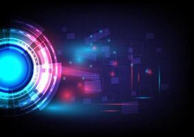 formas geométricas. Círculo e esfera brilhantes de hud de ficção científica futurista. efeito de luz. abstrato base de alta tecnologia. interface de display head-up. tela de inovação de tecnologia de realidade virtual. negócio digital vetor