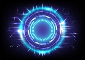 fundo de alta tecnologia de holograma abstrato. inovação em tecnologia de realidade virtual. interface de display head-up. círculo hud brilhante de ficção científica futurista. negócios de infográfico digital. efeito neon na placa de circuito vetor