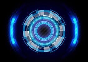 Círculo hud brilhante de holograma futurista de ficção científica. abstrato base de alta tecnologia. interface de display head-up. inovação em tecnologia de realidade virtual. negócio digital. efeito de luz vetor