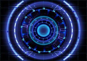 abstrato base de alta tecnologia. inovação de alta tecnologia de realidade virtual. interface de display head-up. círculo hud brilhante de ficção científica futurista. negócio digital vetor