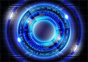 efeito de luz neon. abstrato base de alta tecnologia. inovação de alta tecnologia de realidade virtual. interface de display head-up. círculo hud brilhante de ficção científica futurista. negócio digital vetor