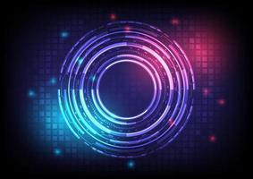 abstrato base de alta tecnologia do holograma. inovação em tecnologia de realidade virtual. interface de display head-up. circuito hud brilhante de ficção científica futurista. infográfico digital empresarial vetor