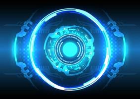 Círculo hud brilhante de holograma futurista de ficção científica. abstrato base de alta tecnologia. interface de display head-up. inovação em tecnologia de realidade virtual. efeito de luz. negócio digital vetor