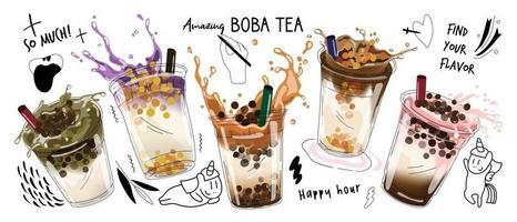 design de promoções especiais de chá com leite bolha, chá com leite boba, chá com leite de pérola, bebidas saborosas, cafés e refrigerantes com logotipo e banner de anúncio de estilo doodle engraçado fofo. ilustração vetorial. vetor