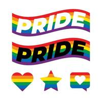 texto orgulho LGBT na bandeira do arco-íris. as cores refletem a diversidade da comunidade LGBT. vetor