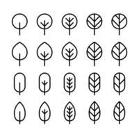 conjunto de ícone de linha de folha mínima. vetor