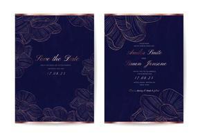 cartões de convite de casamento. modelo de design de convite de ouro de luxo. vetor