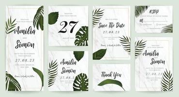 coleção tropical do vetor do projeto do cartão do convite do casamento. design estacionário para banner vip, impressão e fundo de capa.