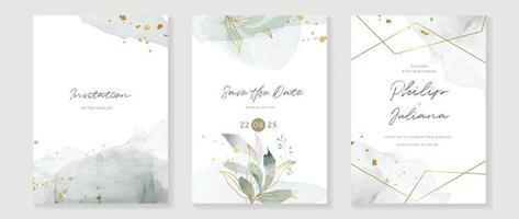 vetor do fundo da arte abstrata. fundo de cartão de convite de luxo com flor de arte de linha dourada e folhas botânicas, formas orgânicas, aquarela. vetor convite design para casamento e modelo de capa vip.