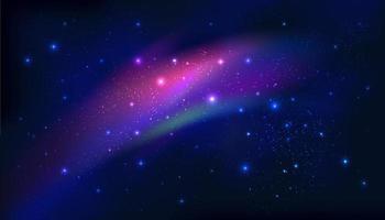 Via Láctea da meia-noite. noite brilhando estrelada na galáxia no fundo do céu azul escuro à noite. ilustração vetorial vetor