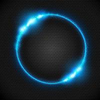 anel de néon azul suave abstrato em fundo de metal escuro. efeito de luz. o redemoinho de partículas brilhantes. flashes de luz no círculo esmeralda. espaço vazio para ilustração text.vector. vetor