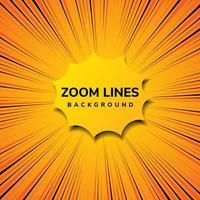 zoom abstrato linha movimento em quadrinhos e estilo pop art com amarelo sobre fundo laranja. vetor