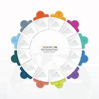 template infográfico de círculo básico com 12 etapas, processo ou opções, gráfico de processo, usado para diagrama de processo, apresentações, layout de fluxo de trabalho, fluxograma, infografia. ilustração em vetor eps10.